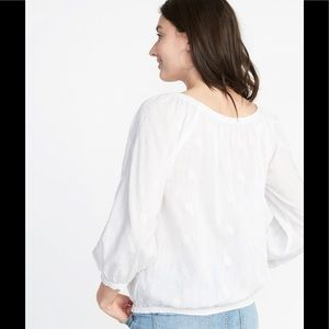 Old Navy Tops - Old Navy Gauzy White Peasant Top Blouse
